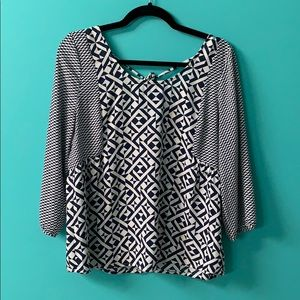 Skies Are Blue Tie Back Geometrical Blouse